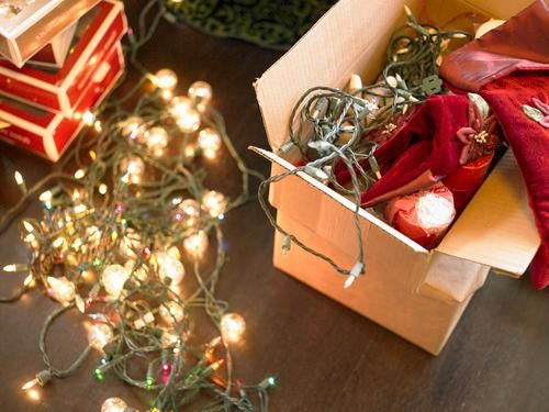 packing christmas decorations