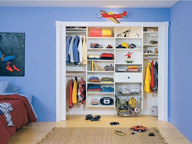boys kids closet with toys