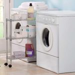 wire shelving cart between washer and dryer
