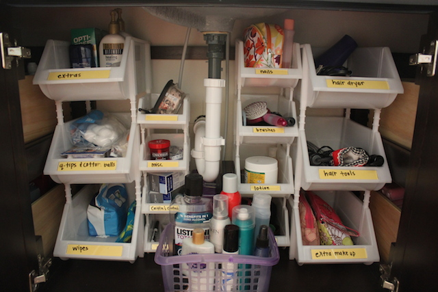 Bathroom Sink Cabinet Bin Organization