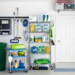 Cleaning supplies in garage