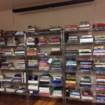 wire shelving with books