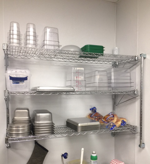 Wall-mounted shelving in your home or restaurant adds storage without taking up floor space.