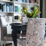 bookshelves in the dining room