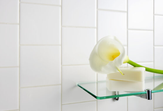 glass shelves for iridescent home decor